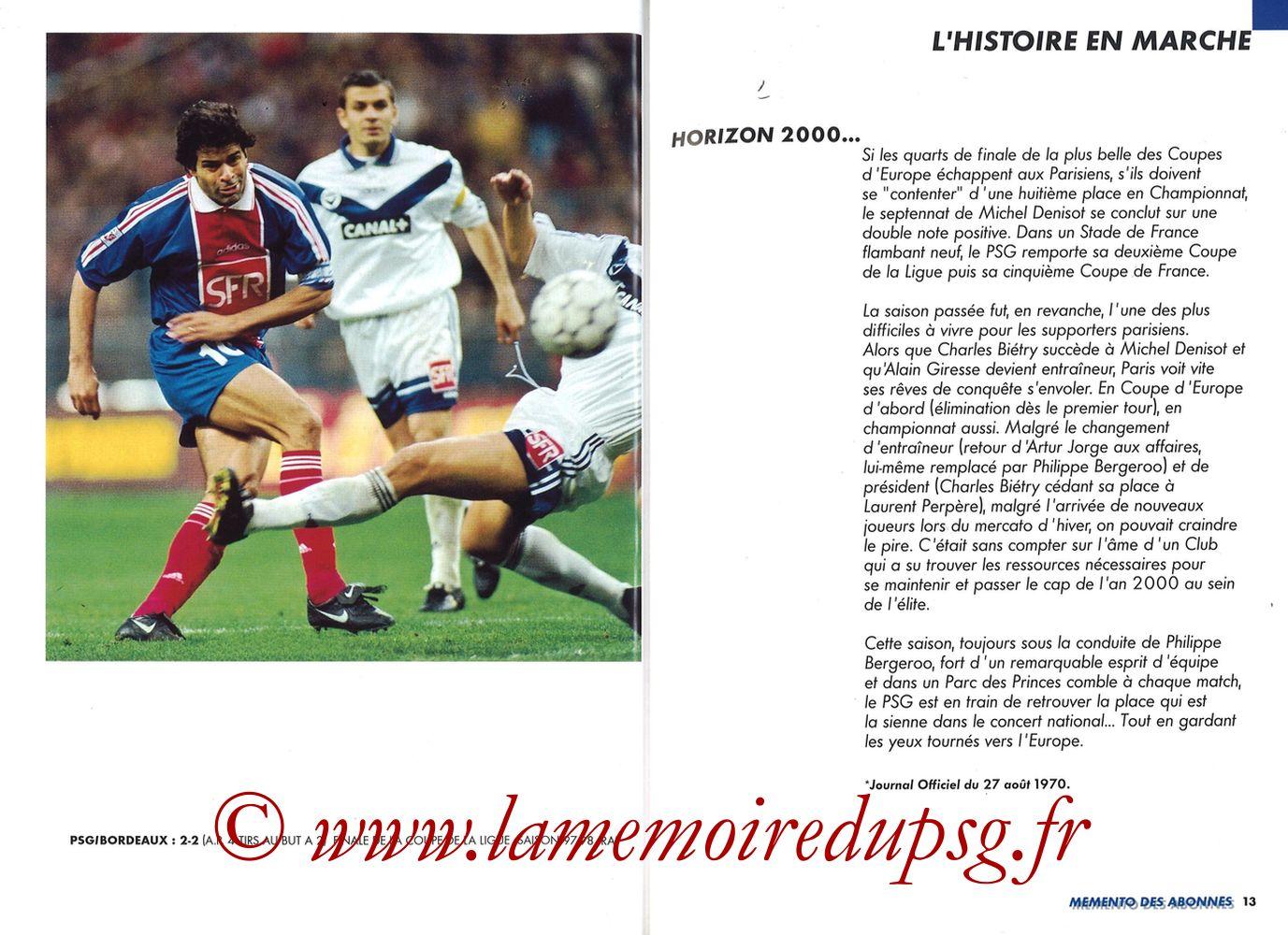 1999-00 - Guide de la Saison PSG - Pages 12 et 13