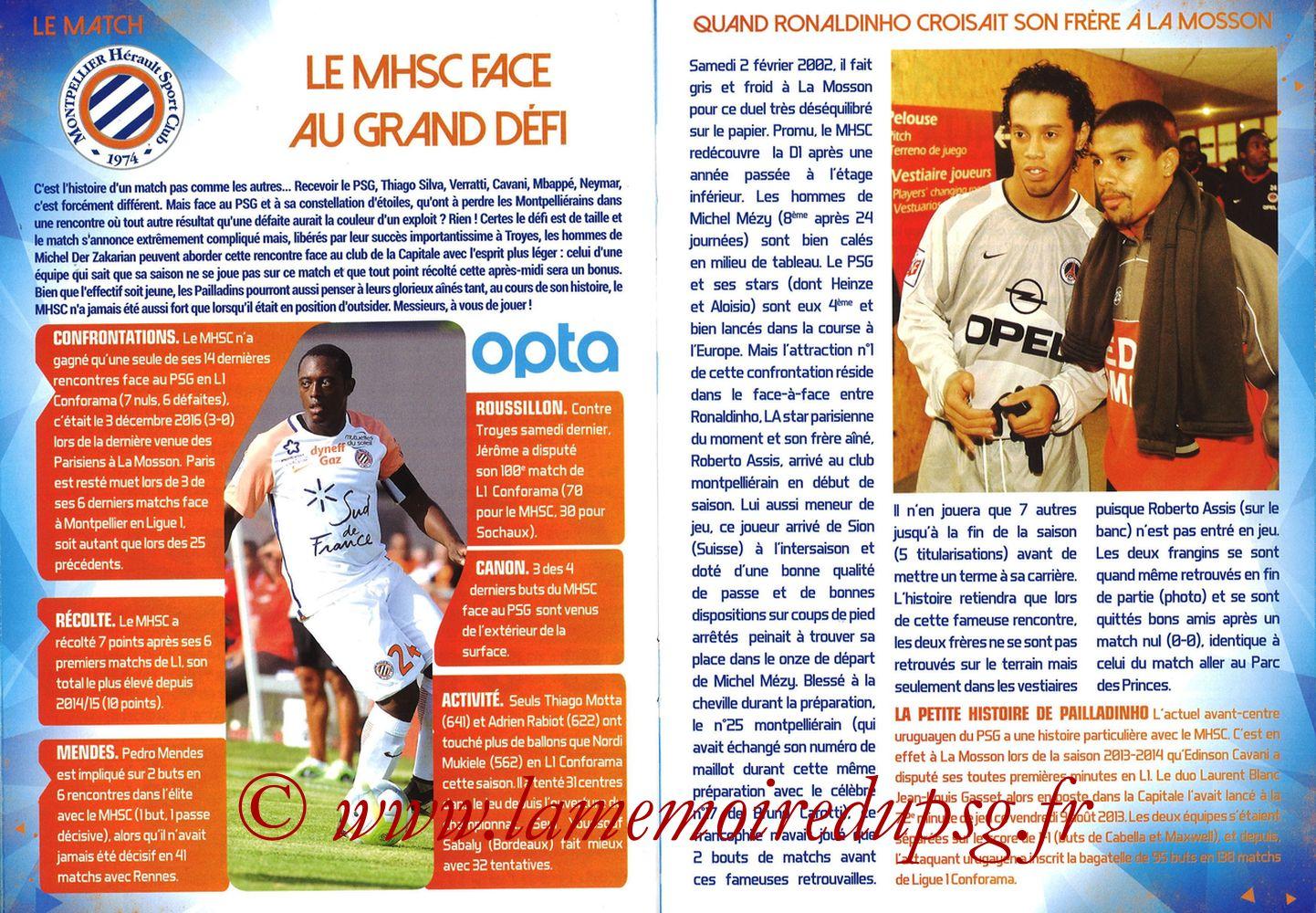 2017-09-23  Montpellier-PSG (7ème L1, L'Echo de la Mosson N°4) - Pages 18 et 19