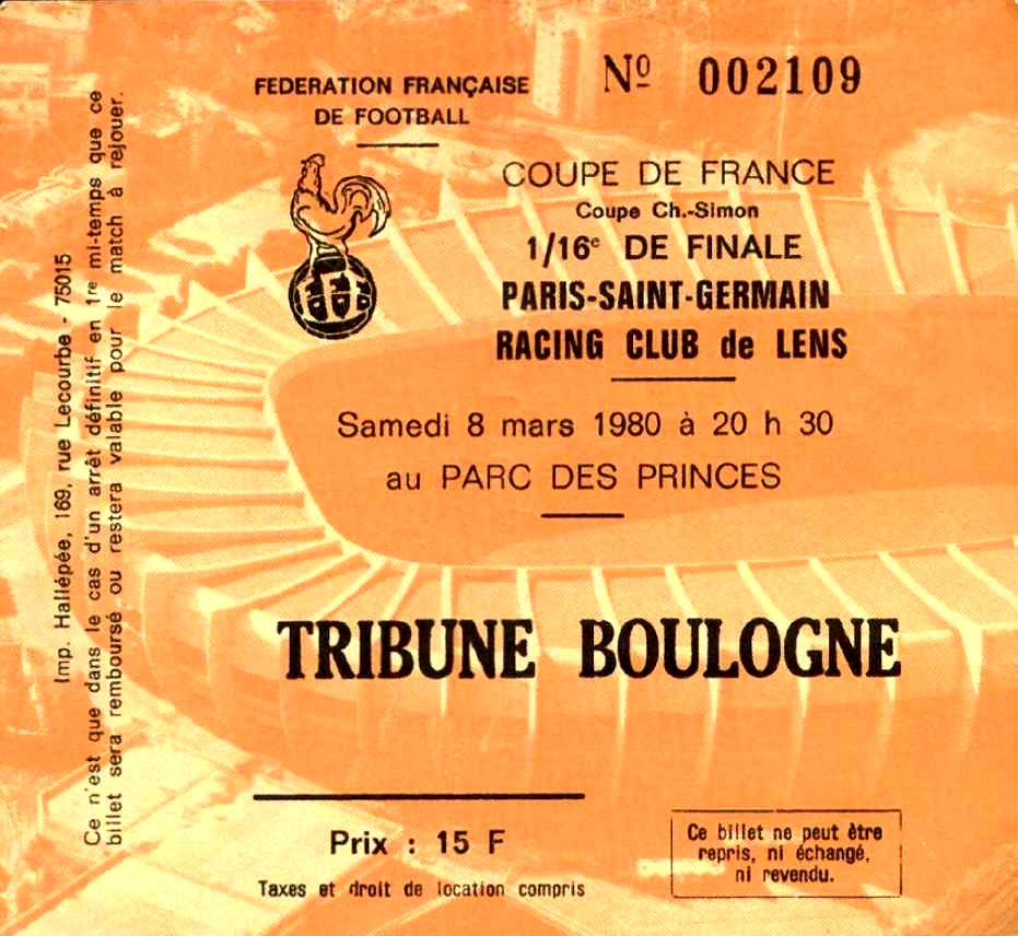 Ticket  PSG-Lens  1979-80