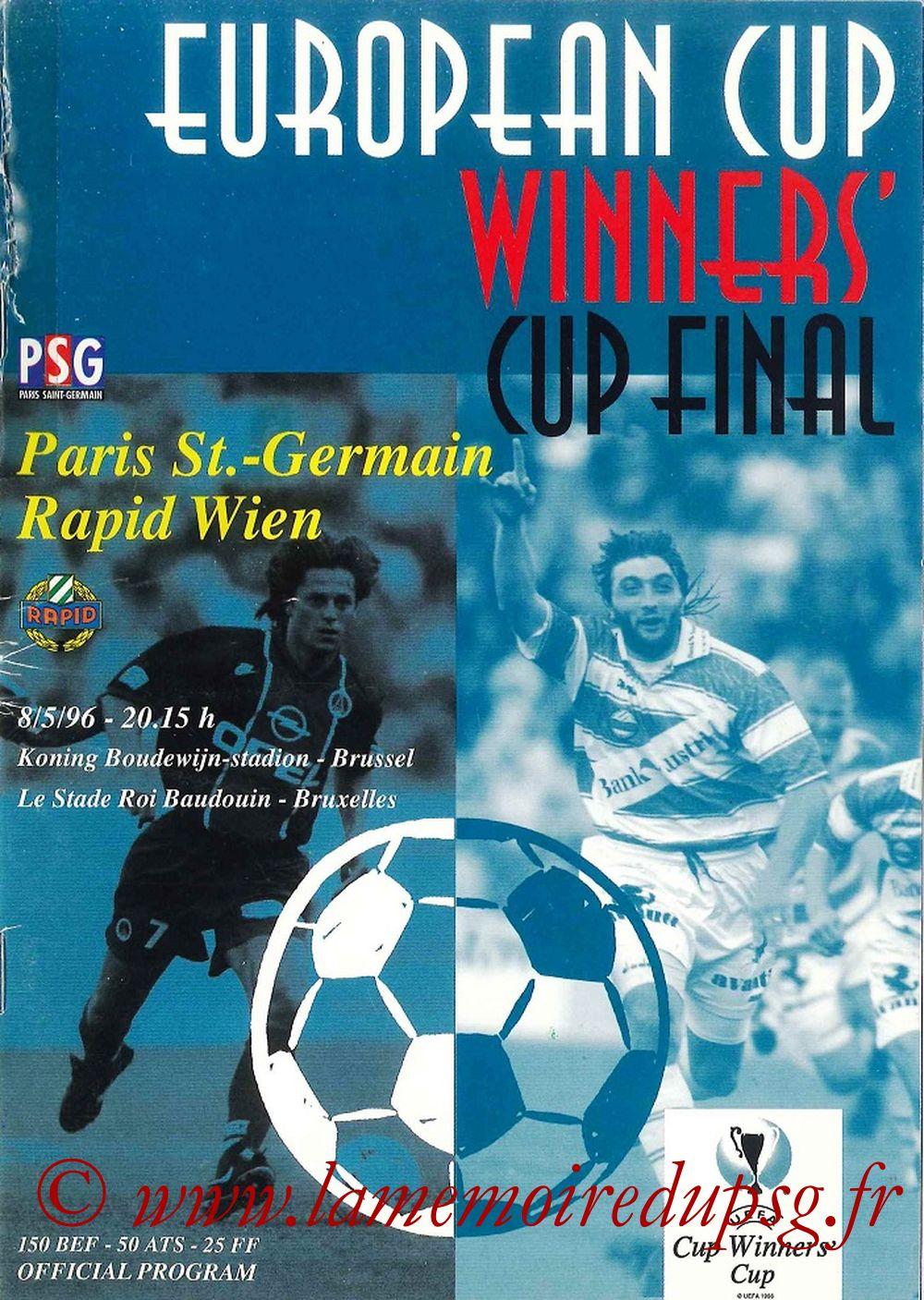 1996-05-08  PSG-Rapid Vienne (Finale C2 à Bruxelles, Programme officiel UEFA)