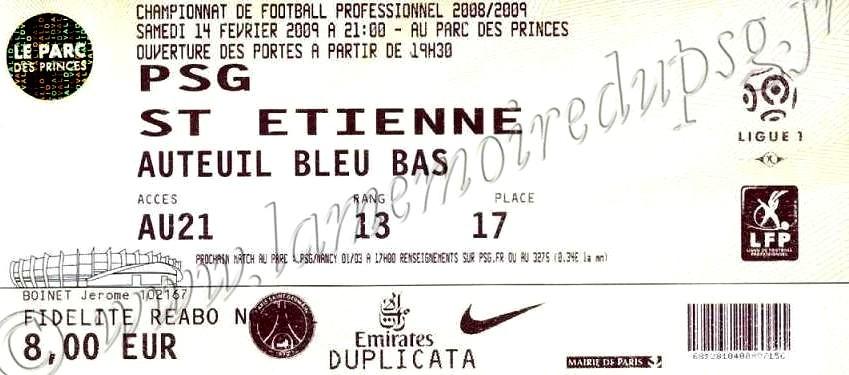 2009-02-14  PSG-Saint Etienne (24ème L1)
