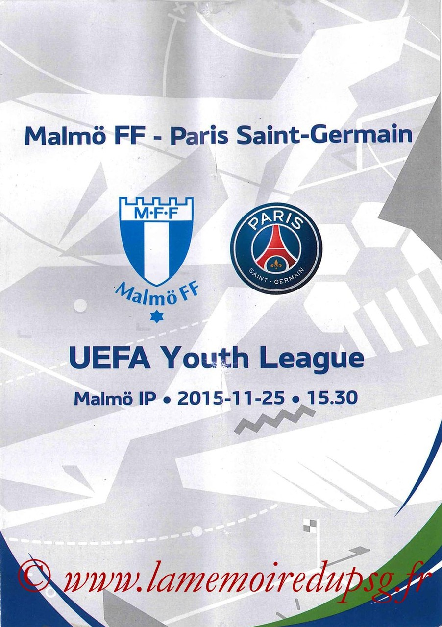 2015-11-25  Malmo-PSG (5ème C1, Programme officiel Youth League)