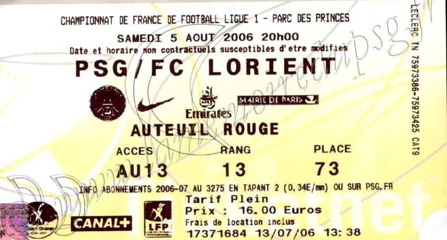 2006-08-05  PSG-Lorient (1ère L1, Ticketnet)
