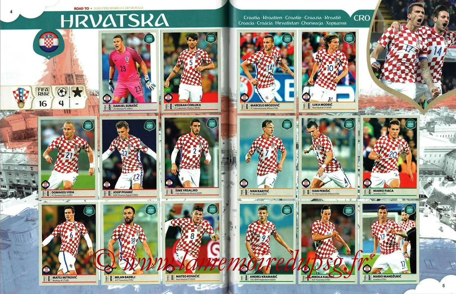 2018 - Panini Road to FIFA World Cup Russia Stickers - Pages 04 et 05 - Croatie