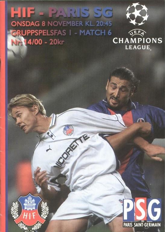 2000-11-08  Helsigborg-PSG (6ème Poule C1, 1ère Phase, Programme officiel)