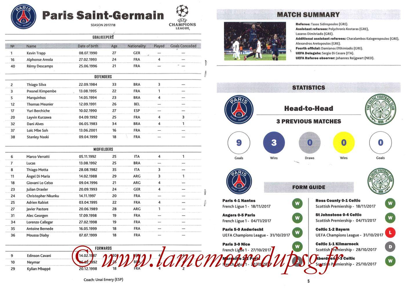 2017-11-22  PSG-Celtic (5ème Poule C1, Programme pirate) - Pages 04 et 05