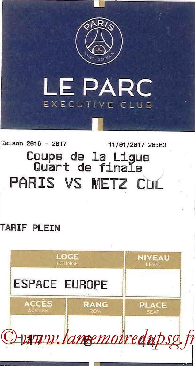 2017-01-11 PSG-Metz (Quart CL, E-ticket Executive club)