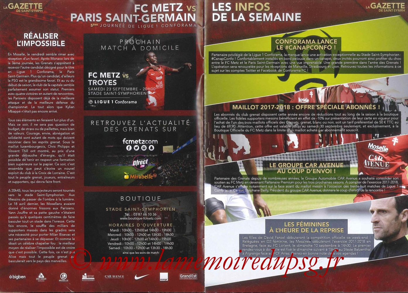 2017-09-08  Metz-PSG ((5ème L1, La Gazette de Saint-Symph) - Pages 02 et 03