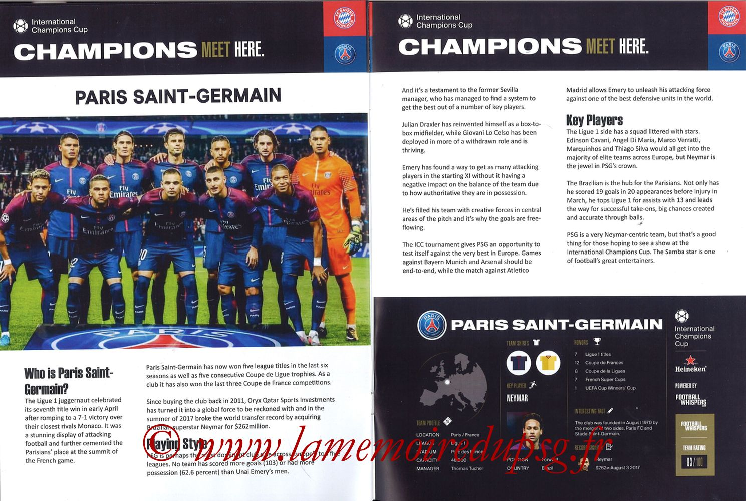 2018-07-21  Bayern Munich-PSG (International Champions Cup à Klagenfurt, Programme pirate) - Pages 06 et 07