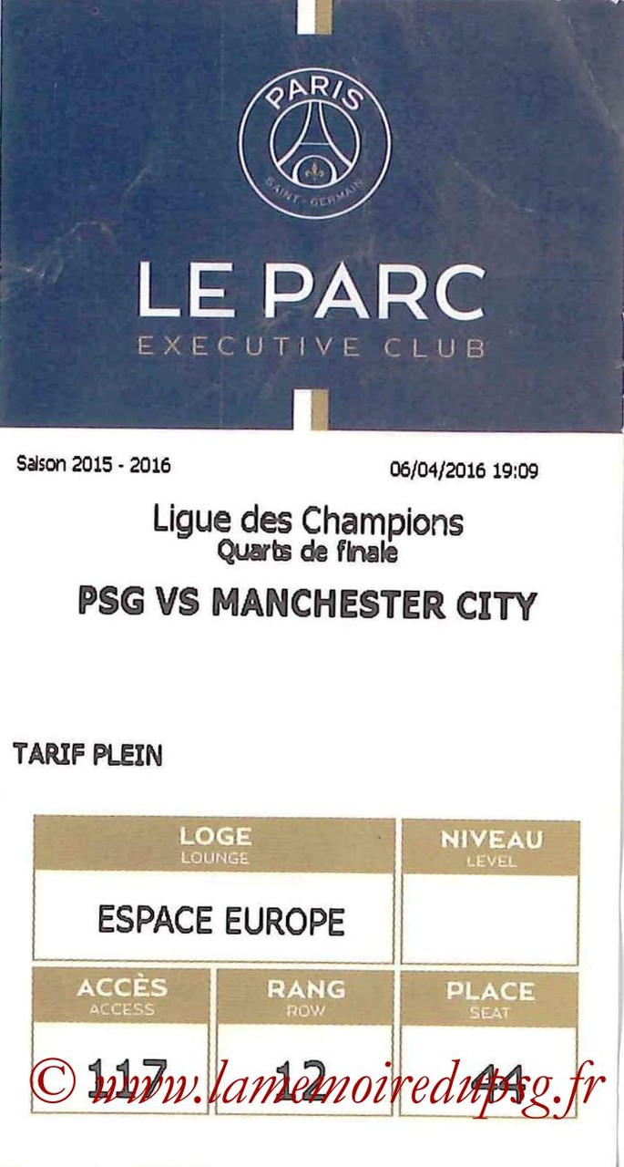 2016-04-06  PSG-Manchester City (Quart Aller C1, E-ticket Executive Club)