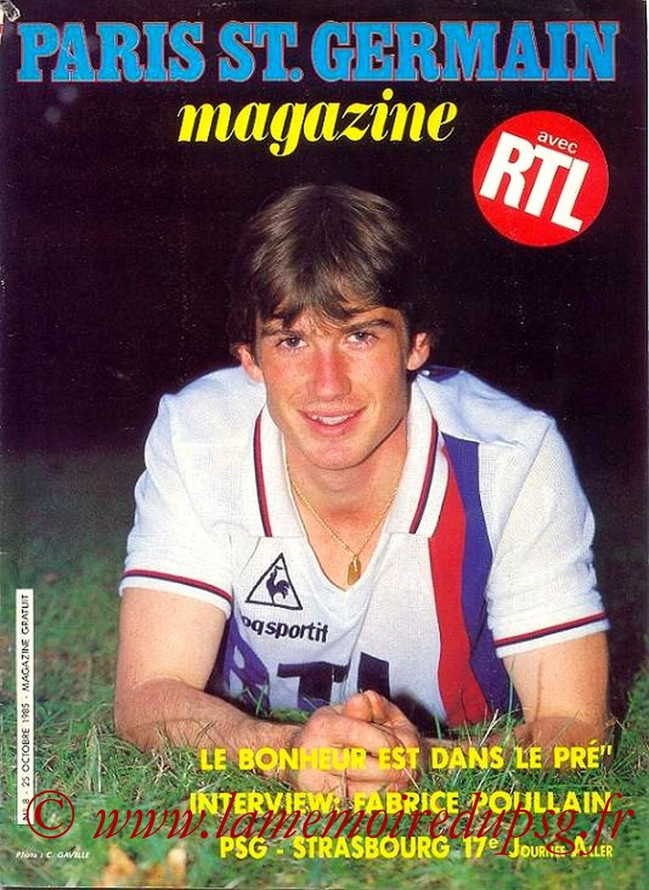1985-10-25  PSG-Strasbourg (17ème D1, Paris St Germain Magazine N°8)