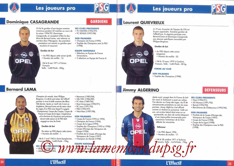 1998-99 - Guide de la Saison PSG - Pages 24 et 25