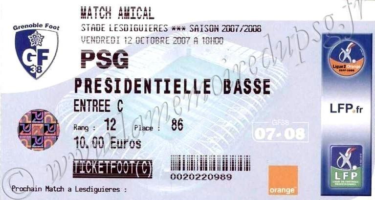 2007-10-12  Grenoble-PSG (Amical à Grenoble)