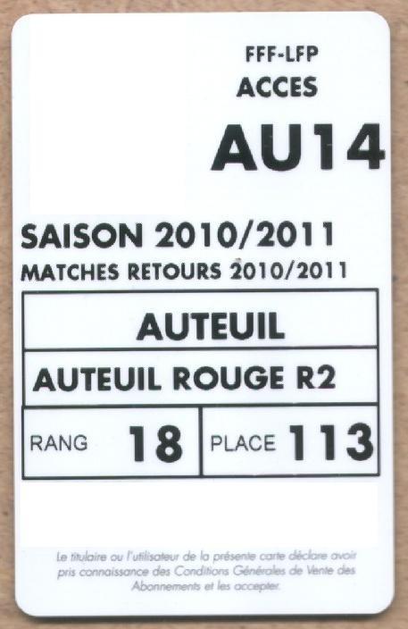 Carte d'abonné PSG 2010-11