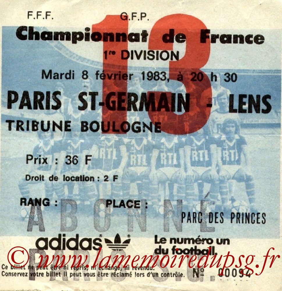 1983-02-08  PSG-Lens (24ème D1, Ticket N°13)