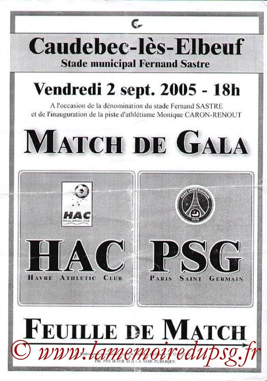 2005-09-02  Le Havre-PSG (Amical à Caudebec-les-Elbeuf, Affichette)