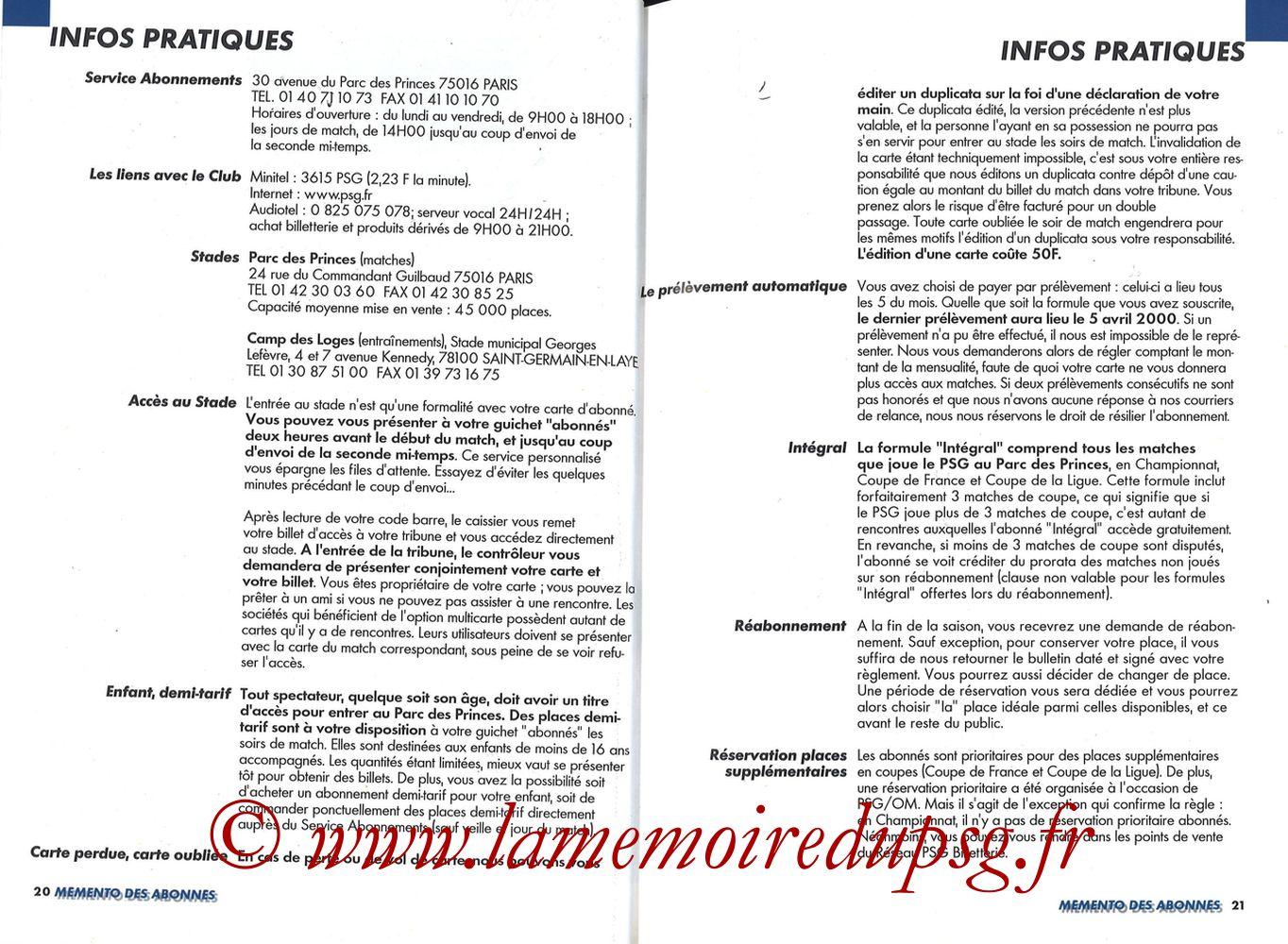 1999-00 - Guide de la Saison PSG - Pages 20 et 21
