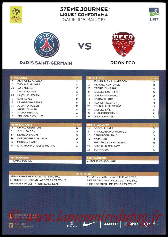 2019-05-18  PSG-Dijon (37ème L1, Feuille de match)