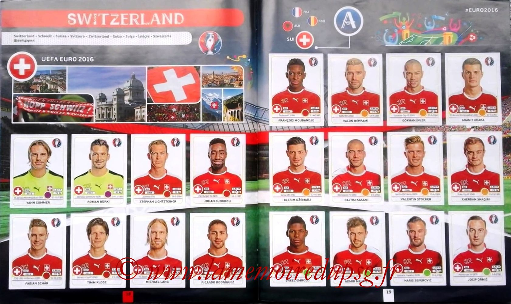 Panini Euro 2016 Stickers - Pages 18 et 19 - Suisse