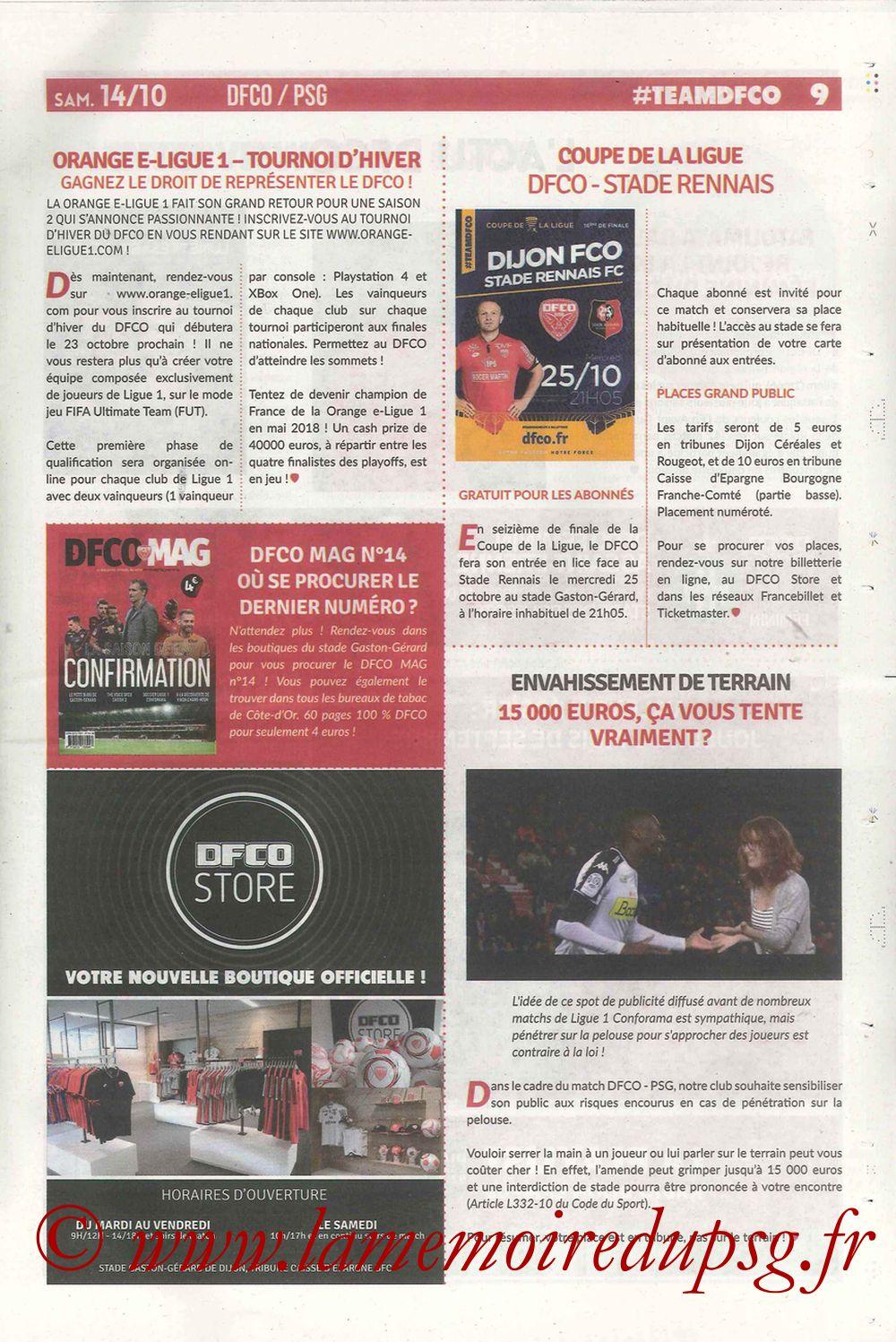 2017-10-14  Dijon-PSG (9ème L1, Chouett'Infos N°5) - Page 09