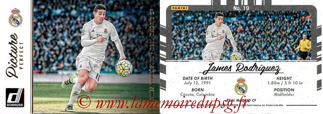 2016 - Panini Donruss Cards - N° PP19 - James RODRIGUEZ (Real Madrid CF) (Picture Perfect)