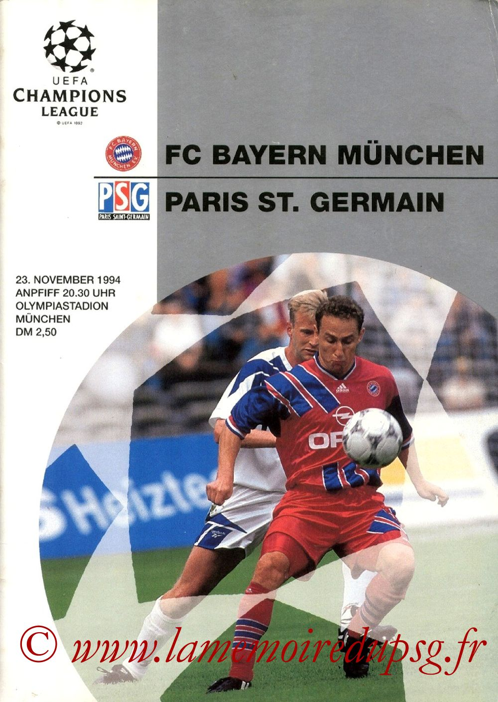 1994-11-23  Bayern Munich-PSG (5ème Poule C1, Officiel UEFA)