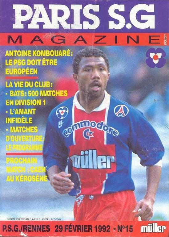 1992-02-29  PSG-Rennes (30ème D1, Paris SG Magazine N°15)