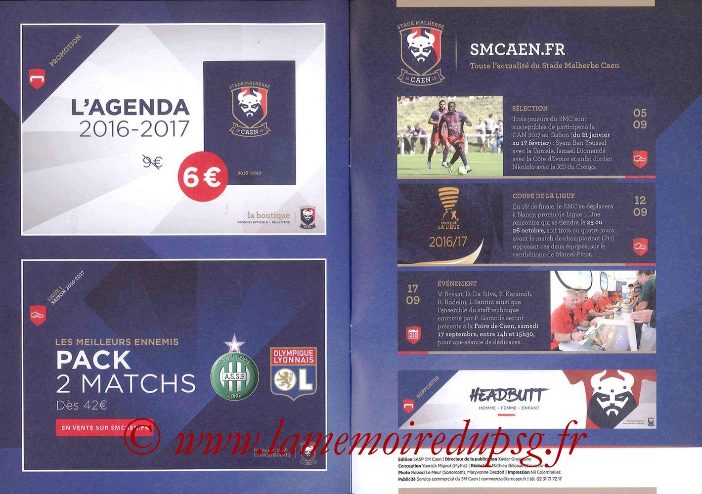 2016-09-16  Caen-PSG (5ème L1, Programme officiel) - Pages 10 et 11