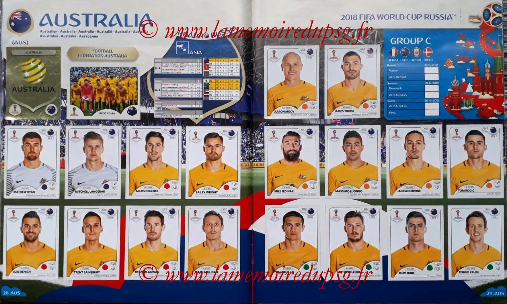 2018 - Panini FIFA World Cup Russia Stickers - Pages 28 et 29 - Australie