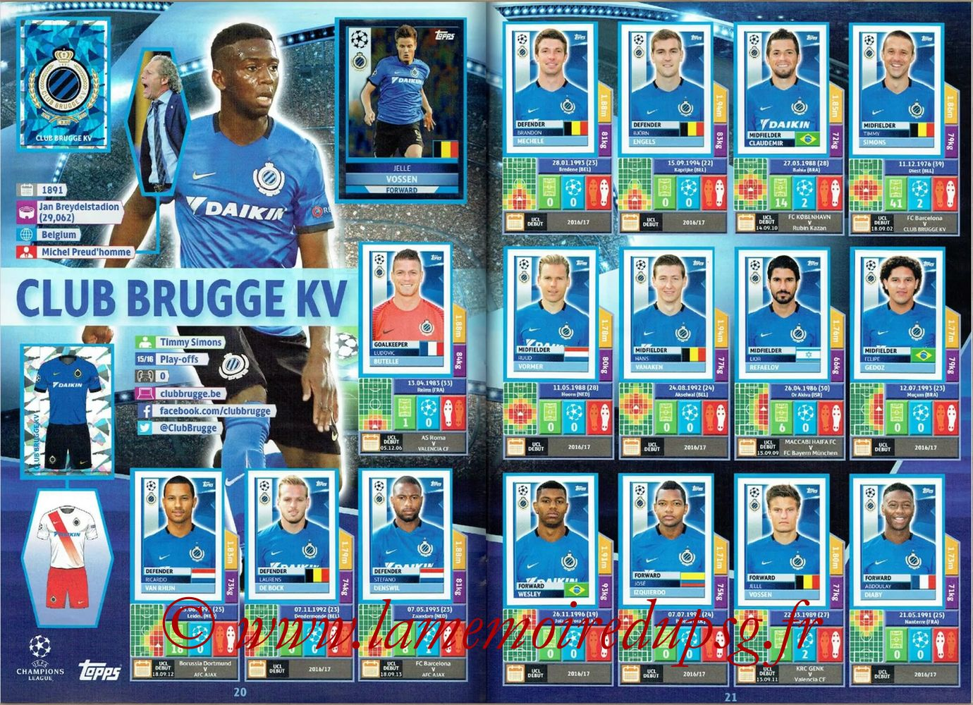 2016-17 - Topps UEFA Champions League Stickers - Pages 20 et 21 - Club Brugge KV