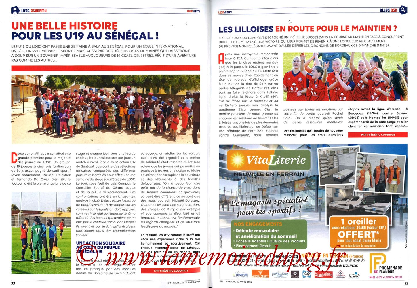 2019-04-14  Lille-PSG (32ème L1, LOSC In the City N° 28) - Pages 22 et 23