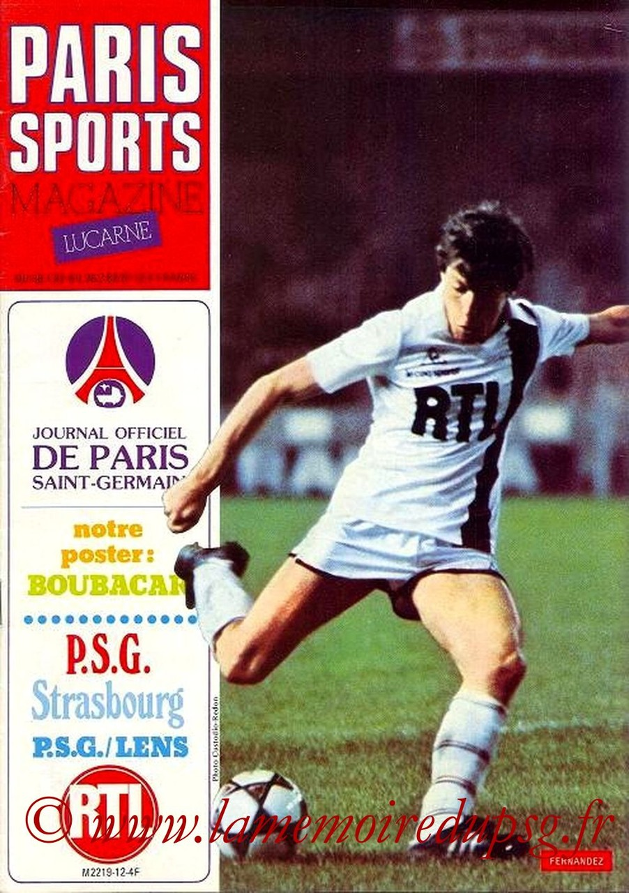 1982-02-06  PSG-Lens N°12 (26ème D1, Paris Sports Magazine N°12)