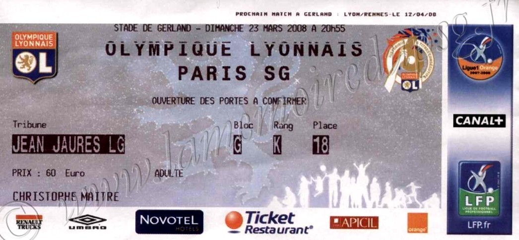 2008-03-23  Lyon-PSG (30ème L1)