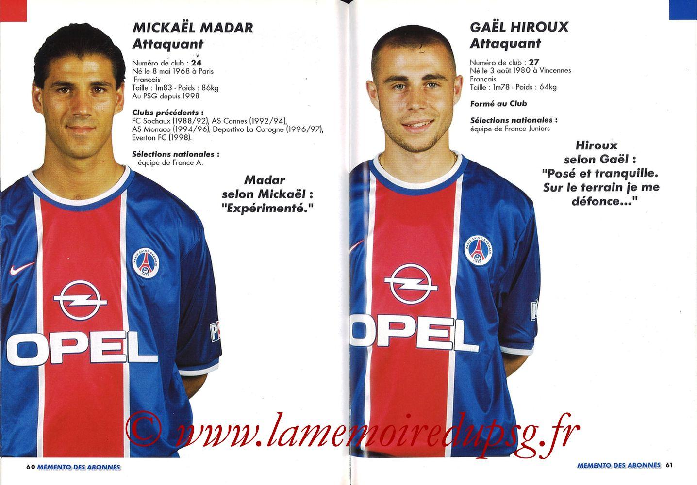 1999-00 - Guide de la Saison PSG - Pages 60 et 61