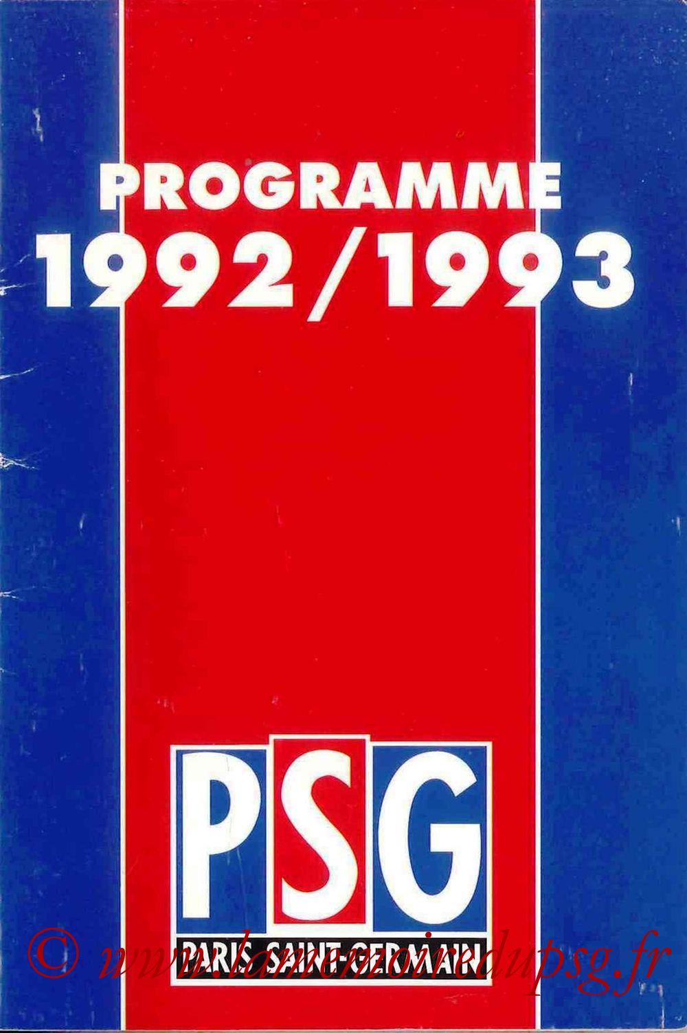 1992-93 - Guide de la Saison PSG - Couverture