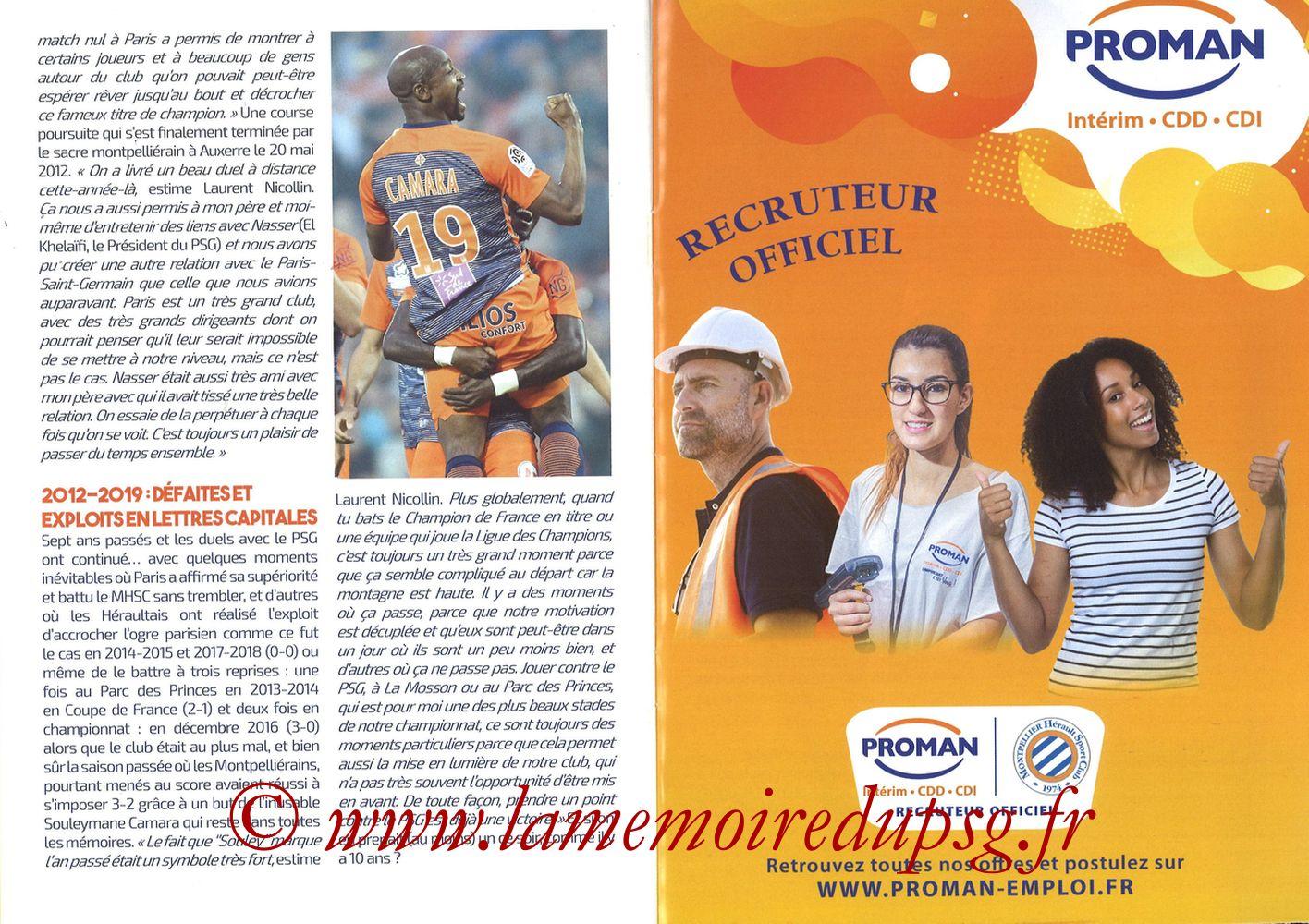 2019-12-07  Montpellier-PSG (17ème L1, L'Echo de la Mosson N°9) - Pages 22 et 23