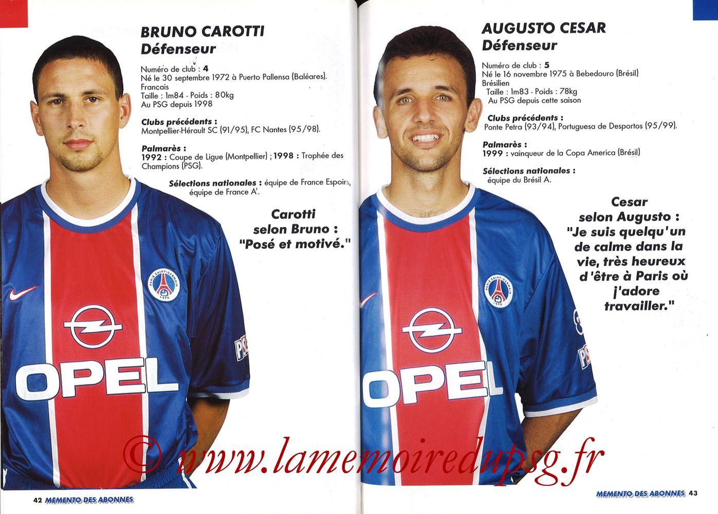1999-00 - Guide de la Saison PSG - Pages 42 et 43