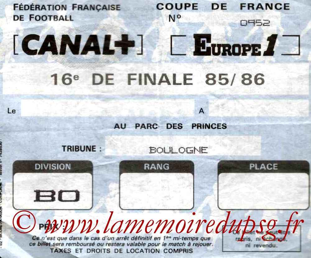 Ticket  PSG-Montpellier  1985-86