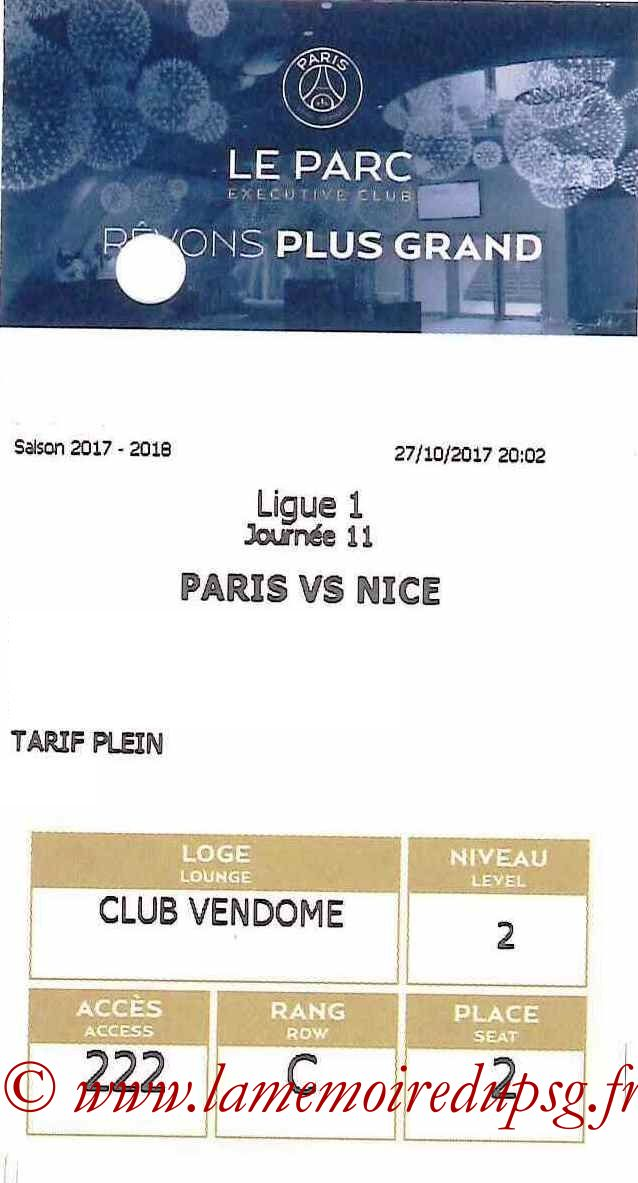 2017-10-27  PSG-Nice (11ème L1, E-ticket Executive club2)