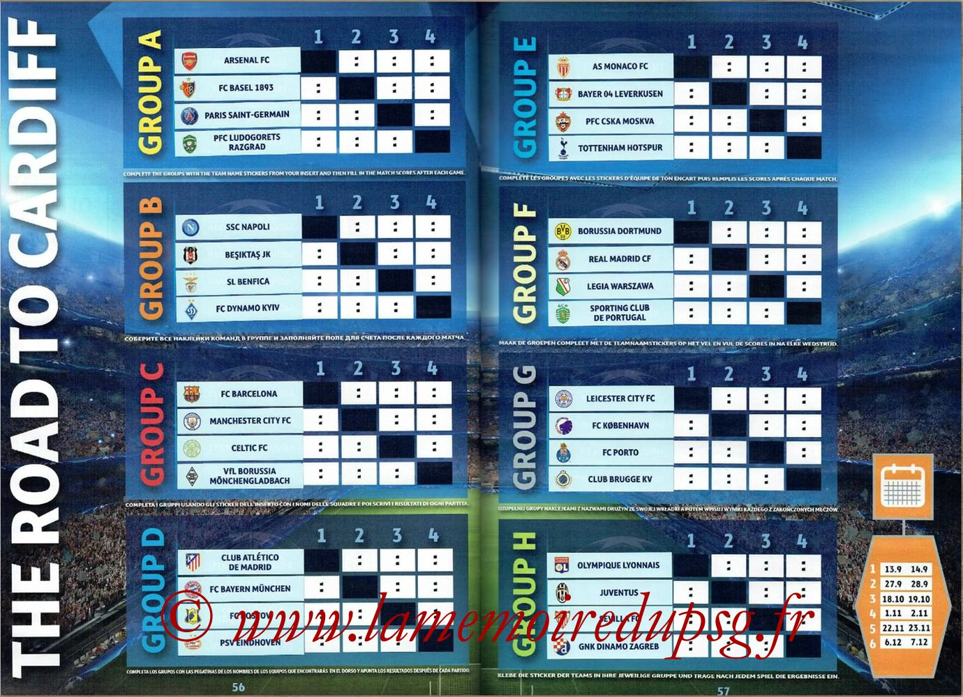 2016-17 - Topps UEFA Champions League Stickers - Pages 56 et 57 - The Road to Cardiff - Groupes