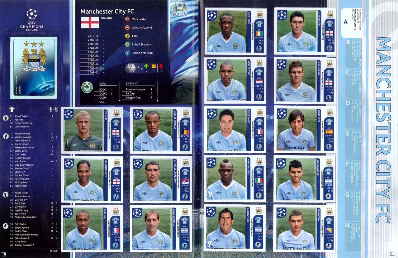 2011-12 - Panini Champions League - Pages 08 et 09 - Manchester City FC