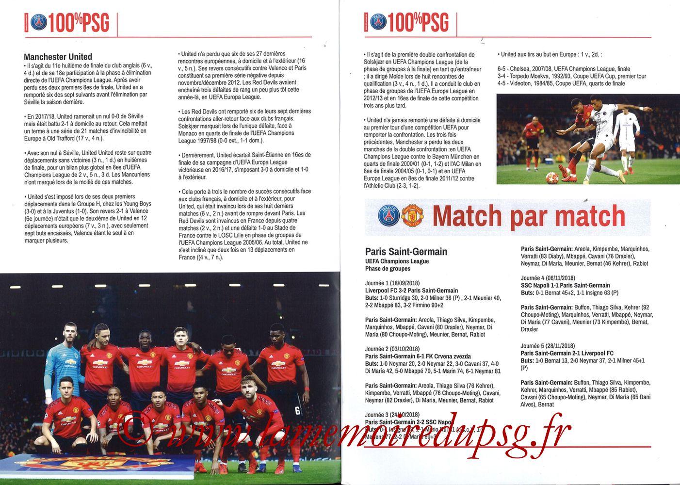 2019-03-06  PSG-Manchester United (8ème Retour C1, 100% PSG N° 181) - Pages 04 et 05
