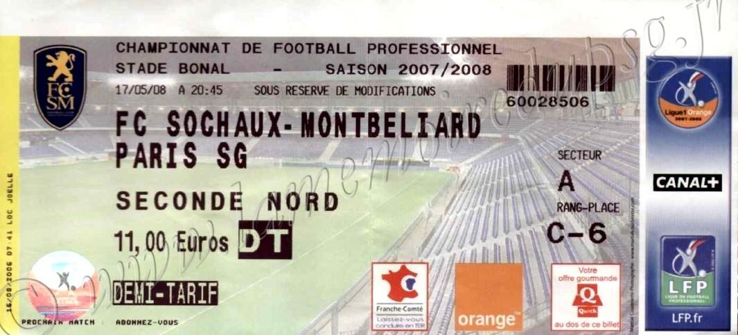 2008-05-17  Sochaux-PSG (38ème L1)