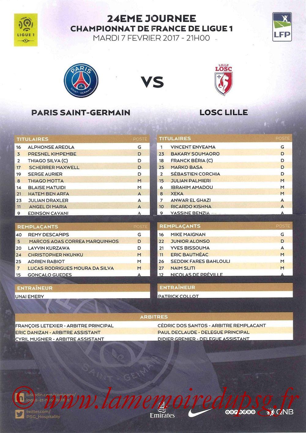 2017-02-07  PSG-Lille (24ème L1, Feuille de match)