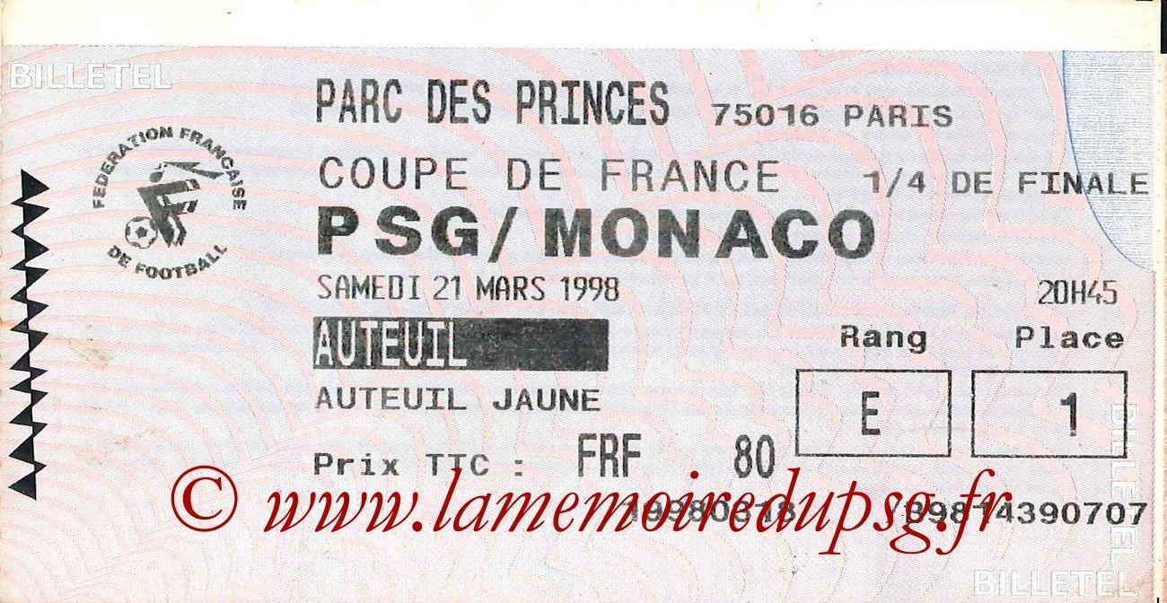 1998-03-21  PSG-Monaco (Quart Finale CF, Billetel)