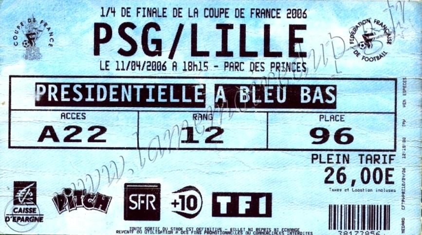 2006-04-11  PSG-Lille (Quart Finale CF, bis)