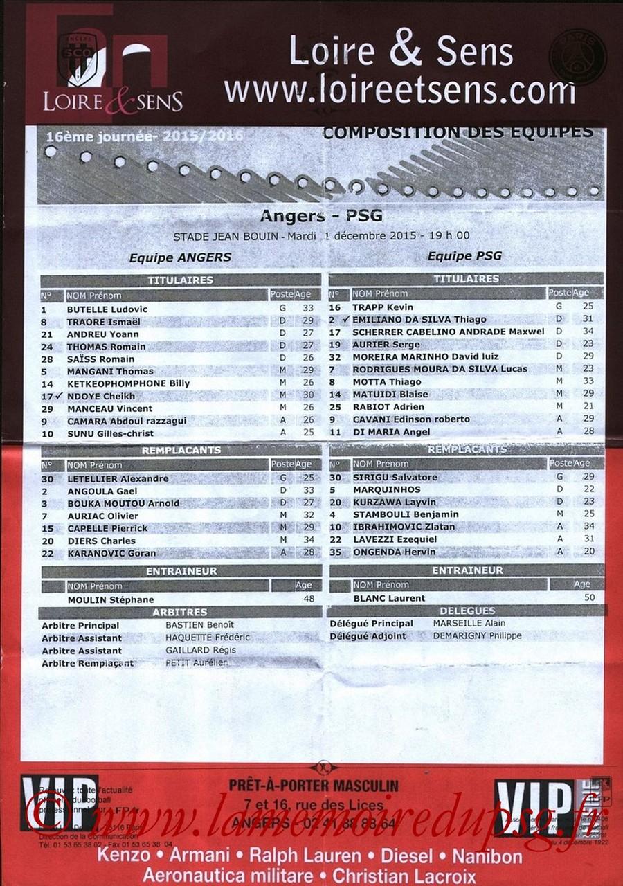 2015-12-01  Angers-PSG (16ème L1, Feuille de match)