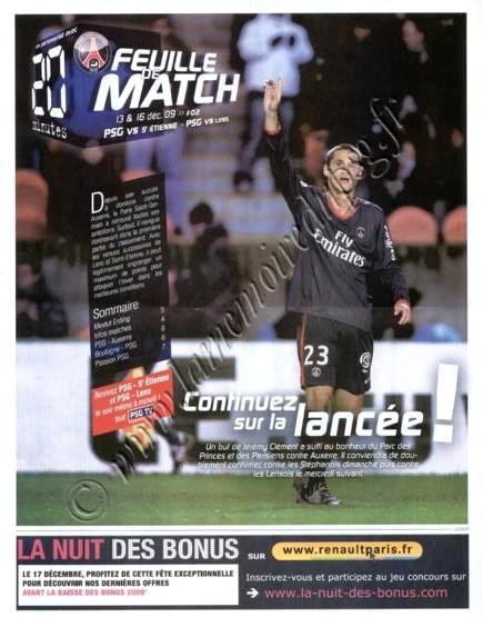 2009-12-13  PSG-Saint Etienne (17ème L1, Feuille de match N°2)
