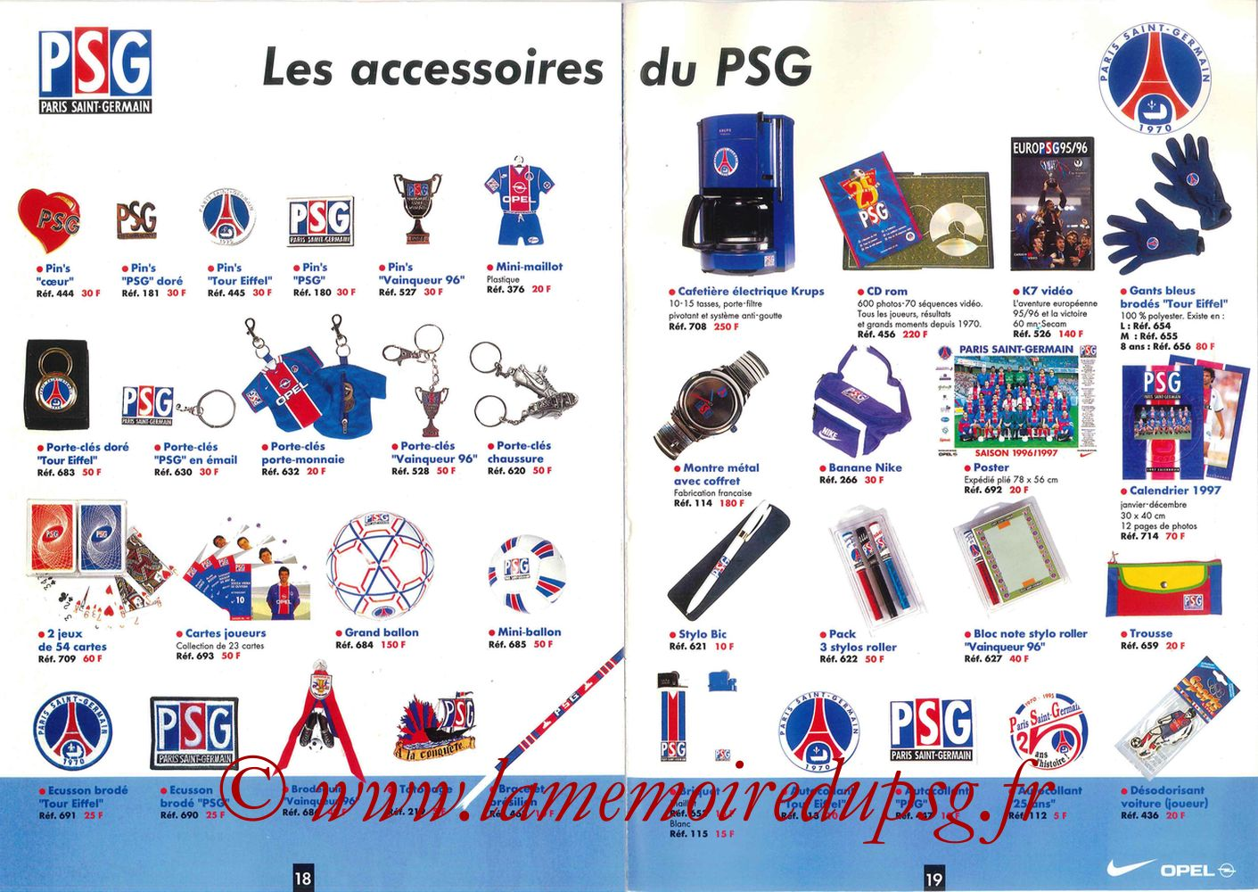 Catalogue PSG - 1996-97 - Pages 18 et 19