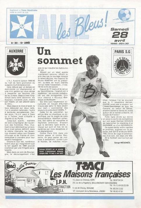 1990-04-28  Auxerre-PSG (35ème D1, Allez les Bleus N°201)